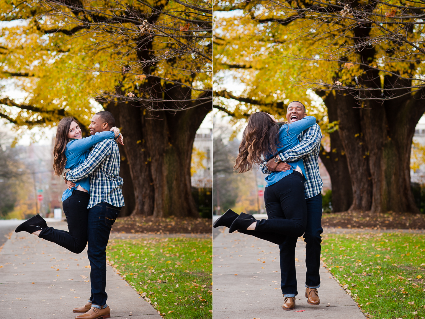 handsome husband to be spins his fiance under a bright yellow tree