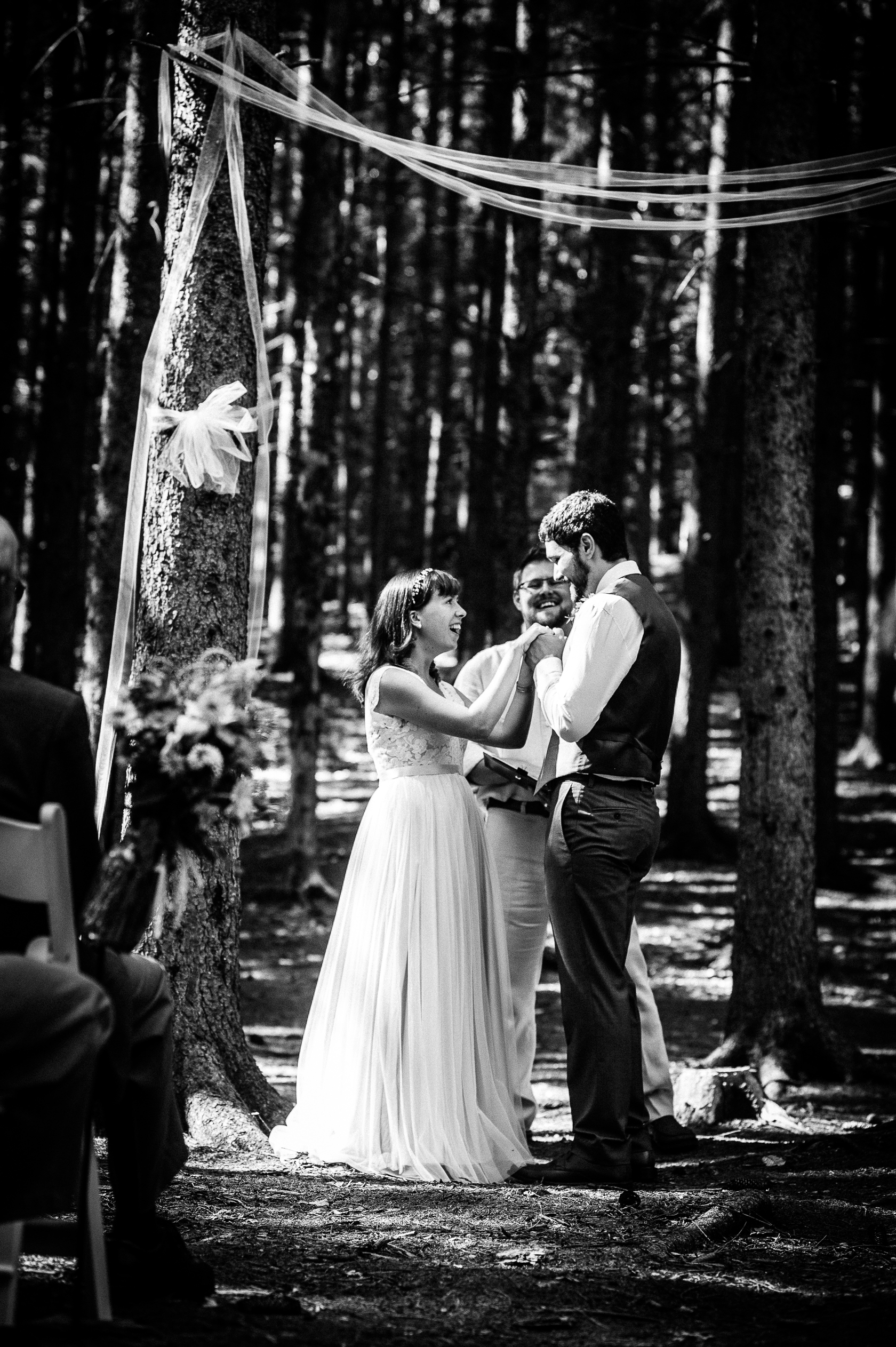 emotional photo of intimate ceremony in the woods