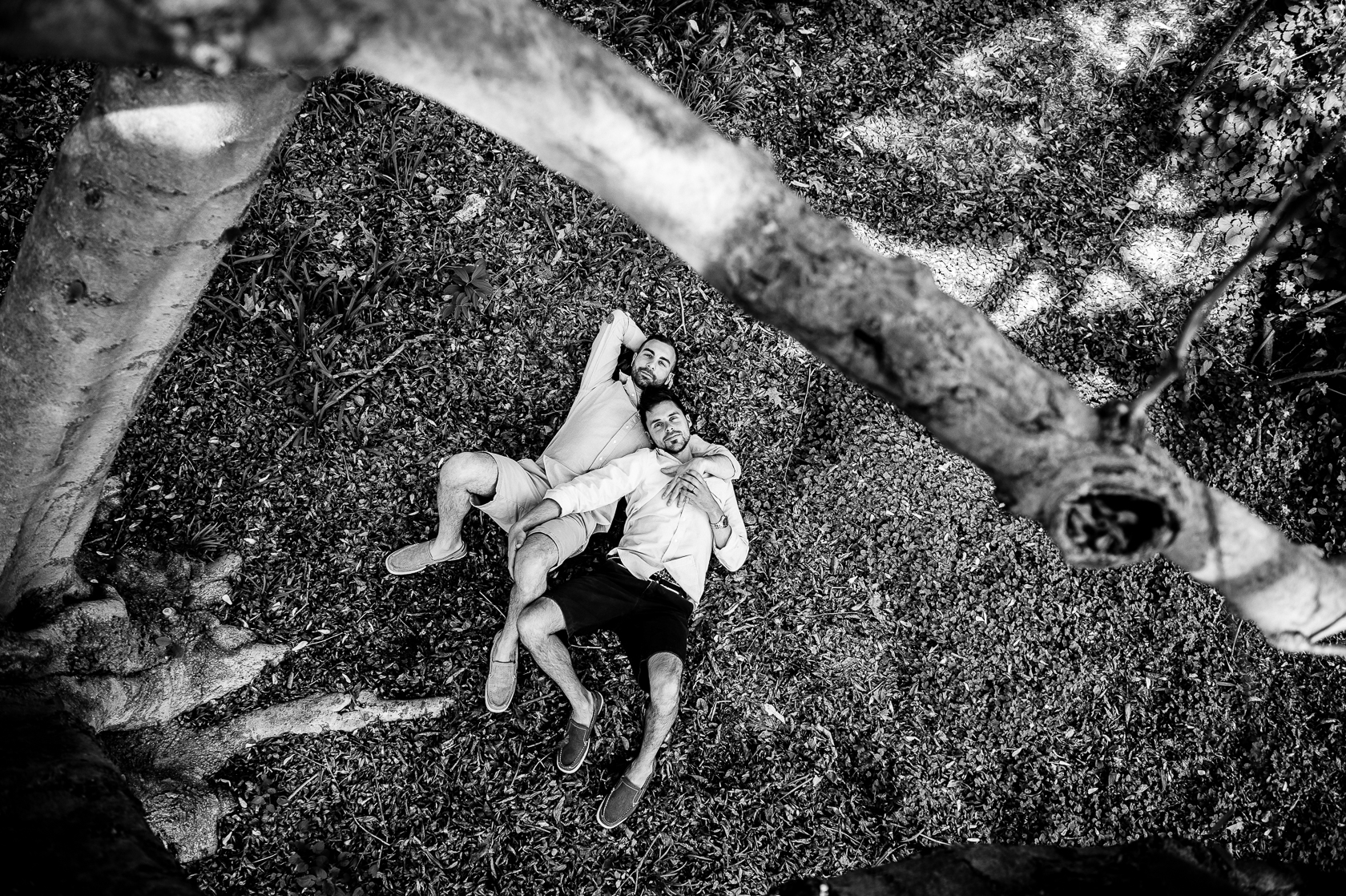 same sex engagement photo of guys cuddling under a tree