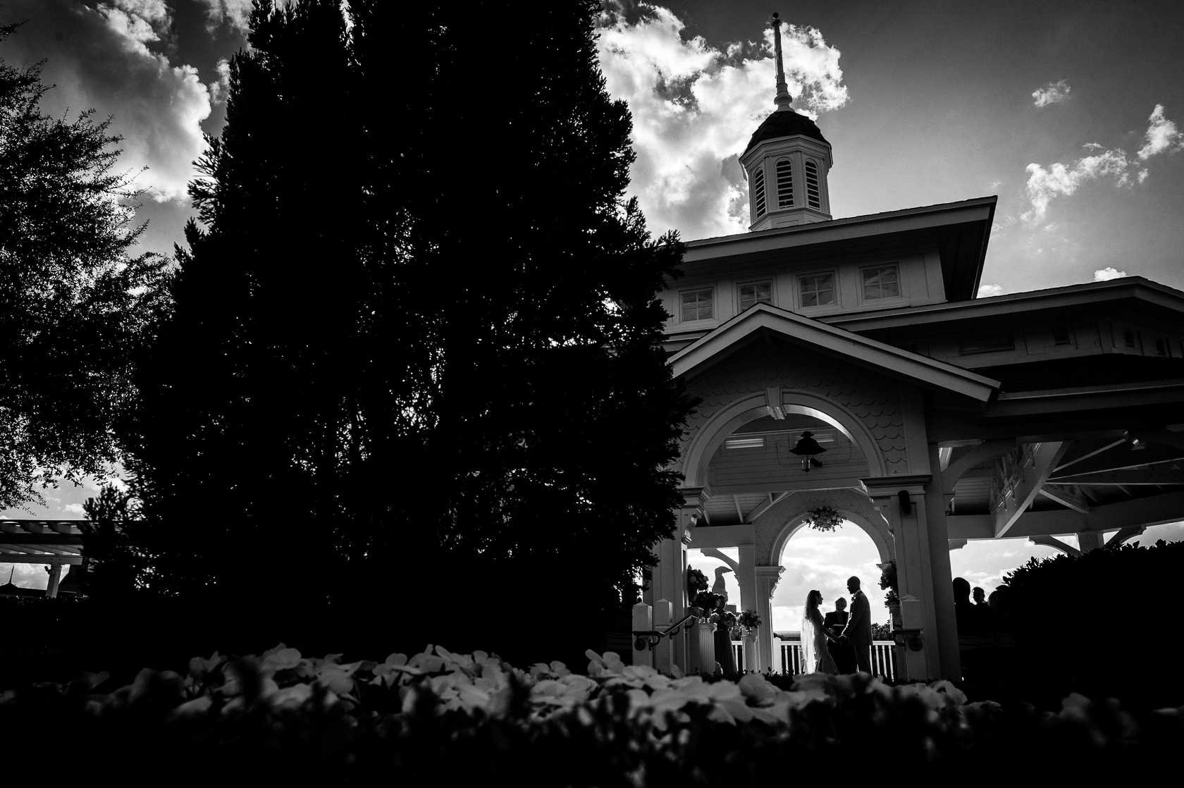 silhouette of couple at Seabreeze point during disney world wedding