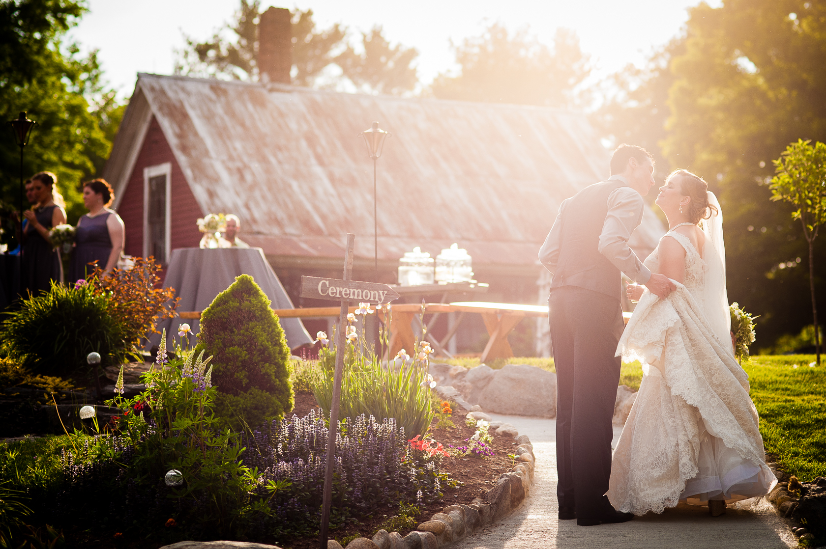 gorgeous sunset light for asheville barn wedding photo of couple at sunset