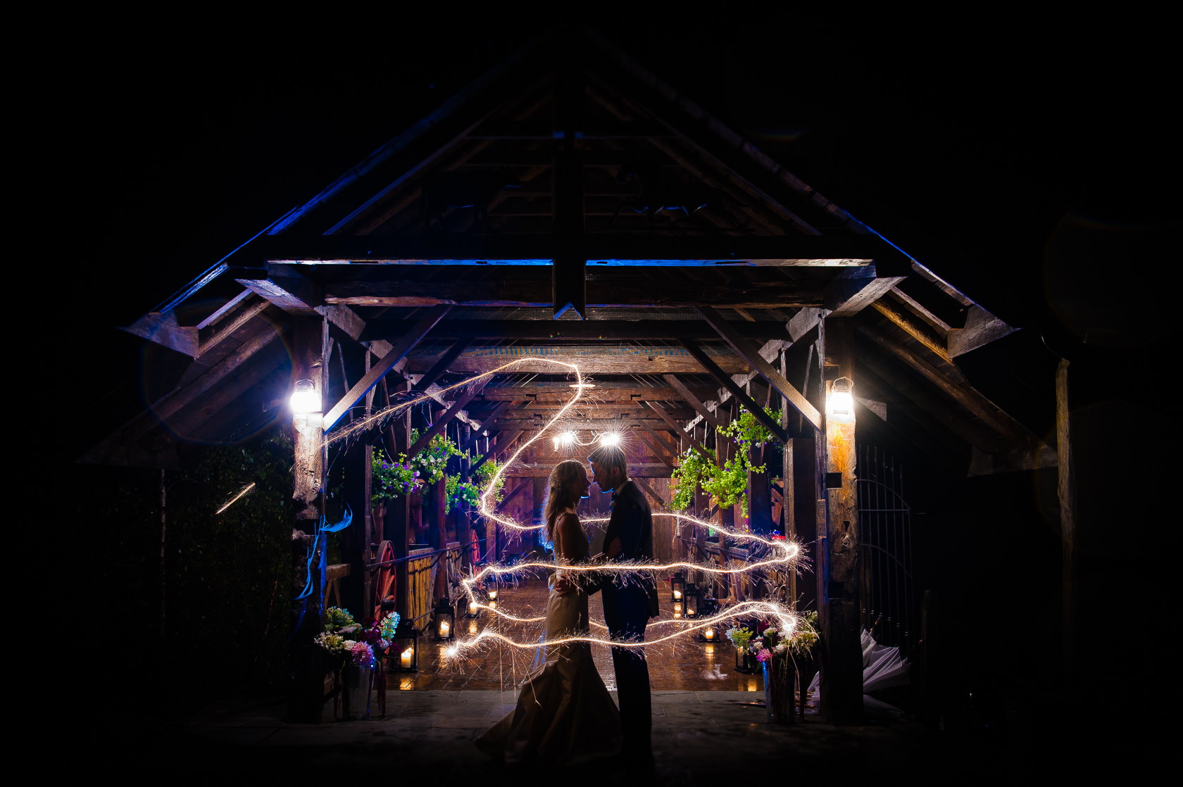 end of the night sparklers asheville barn wedding