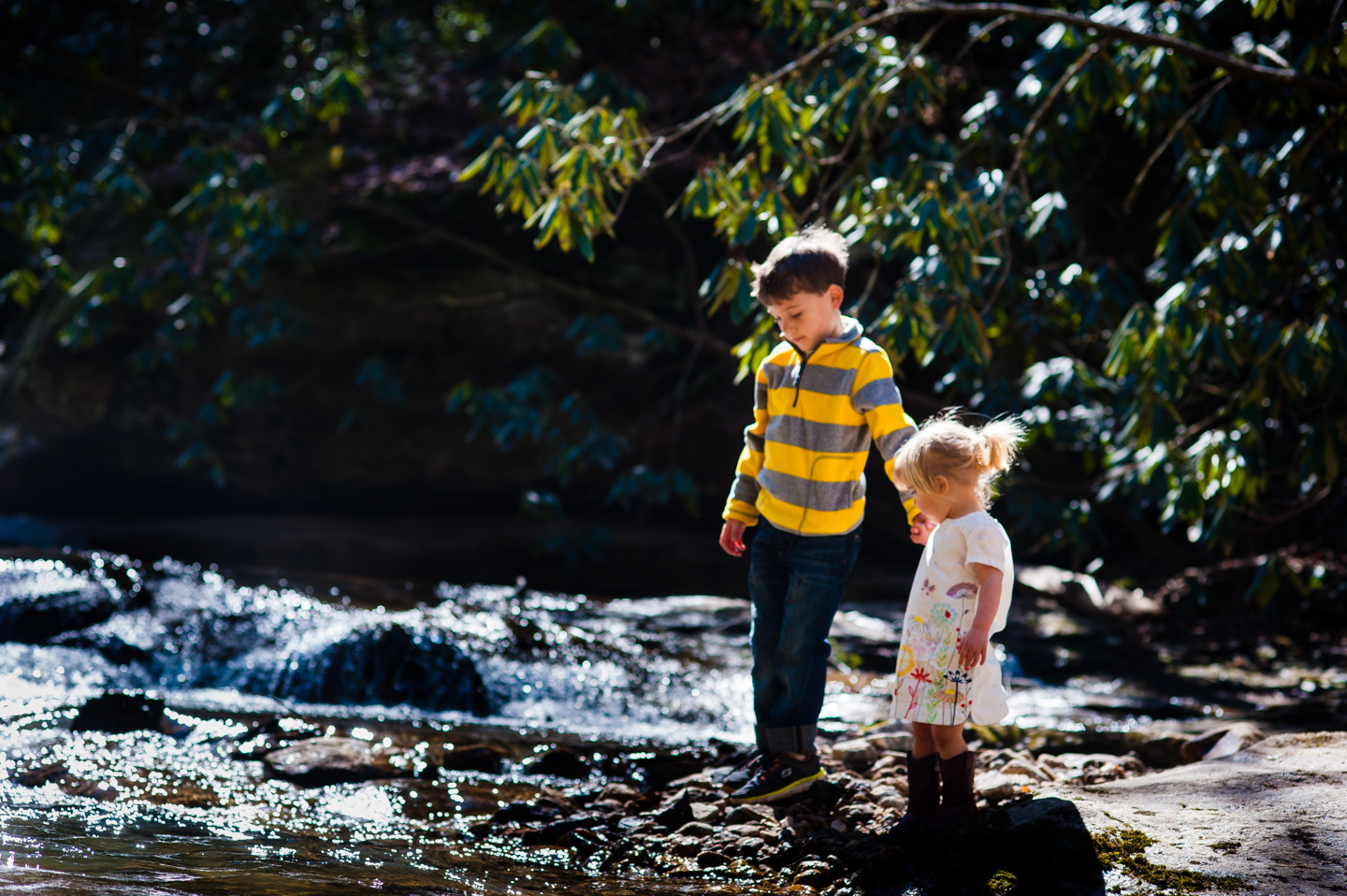 brother and sister hold hands during their family adventure session
