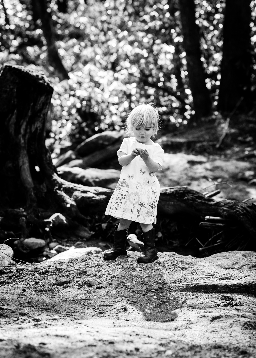 little girl exploring by creek during her baby portrait session