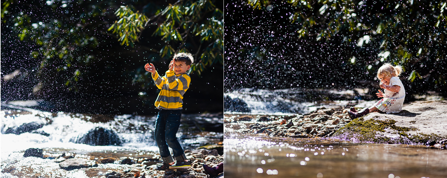 brother and sister throwing rocks in wooded stream