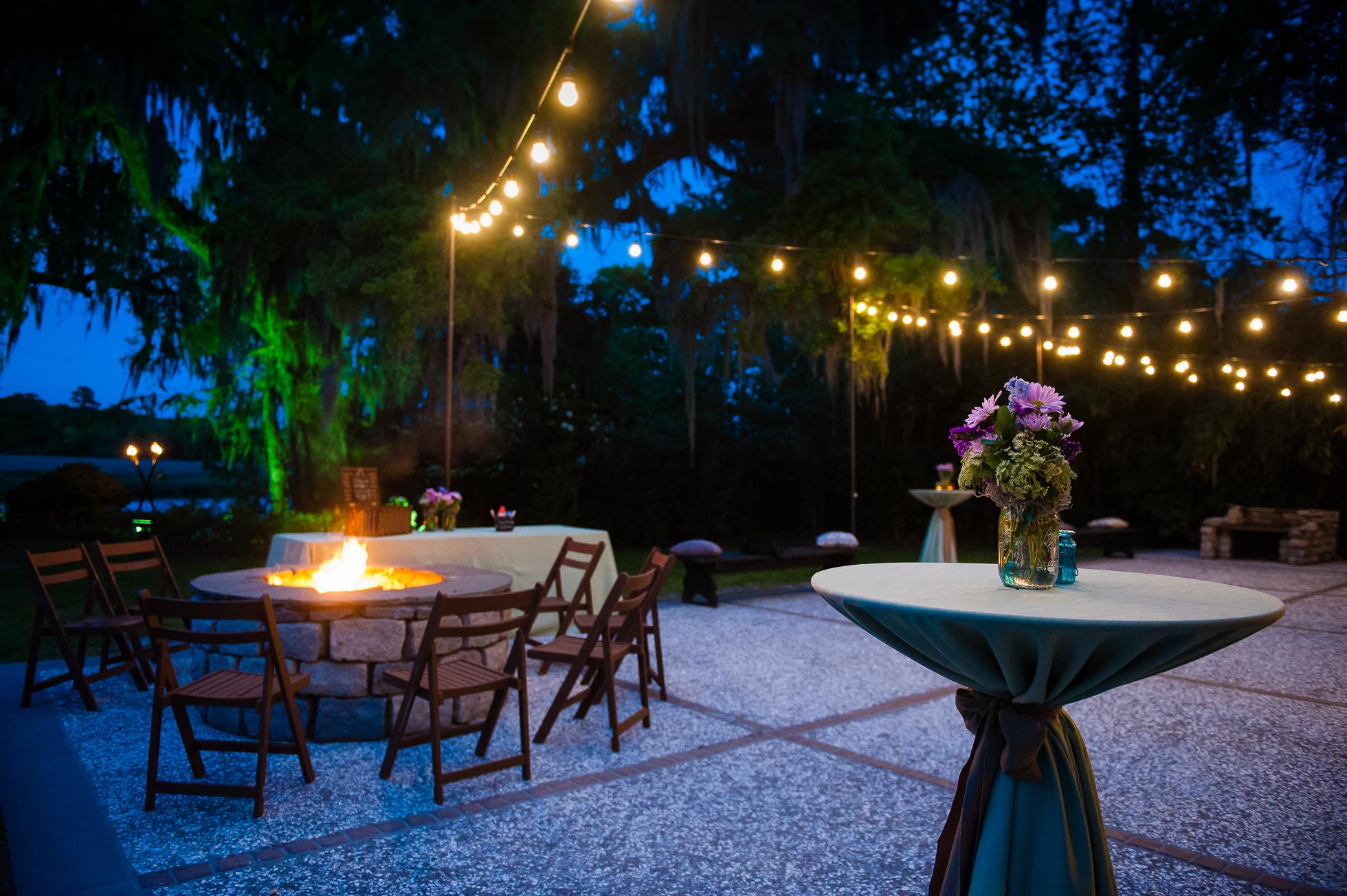 Magnolia Plantation carriage house wedding lit up at night