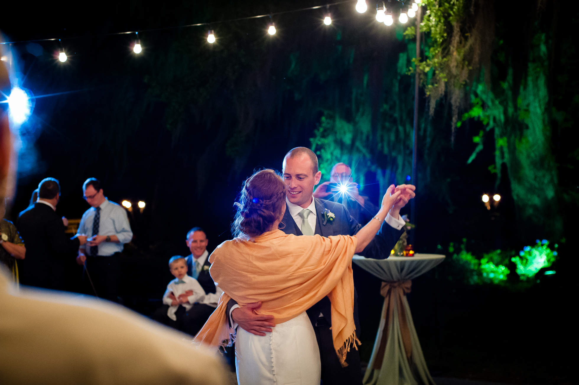 bride and groom first dance during magnolia plantation wedding