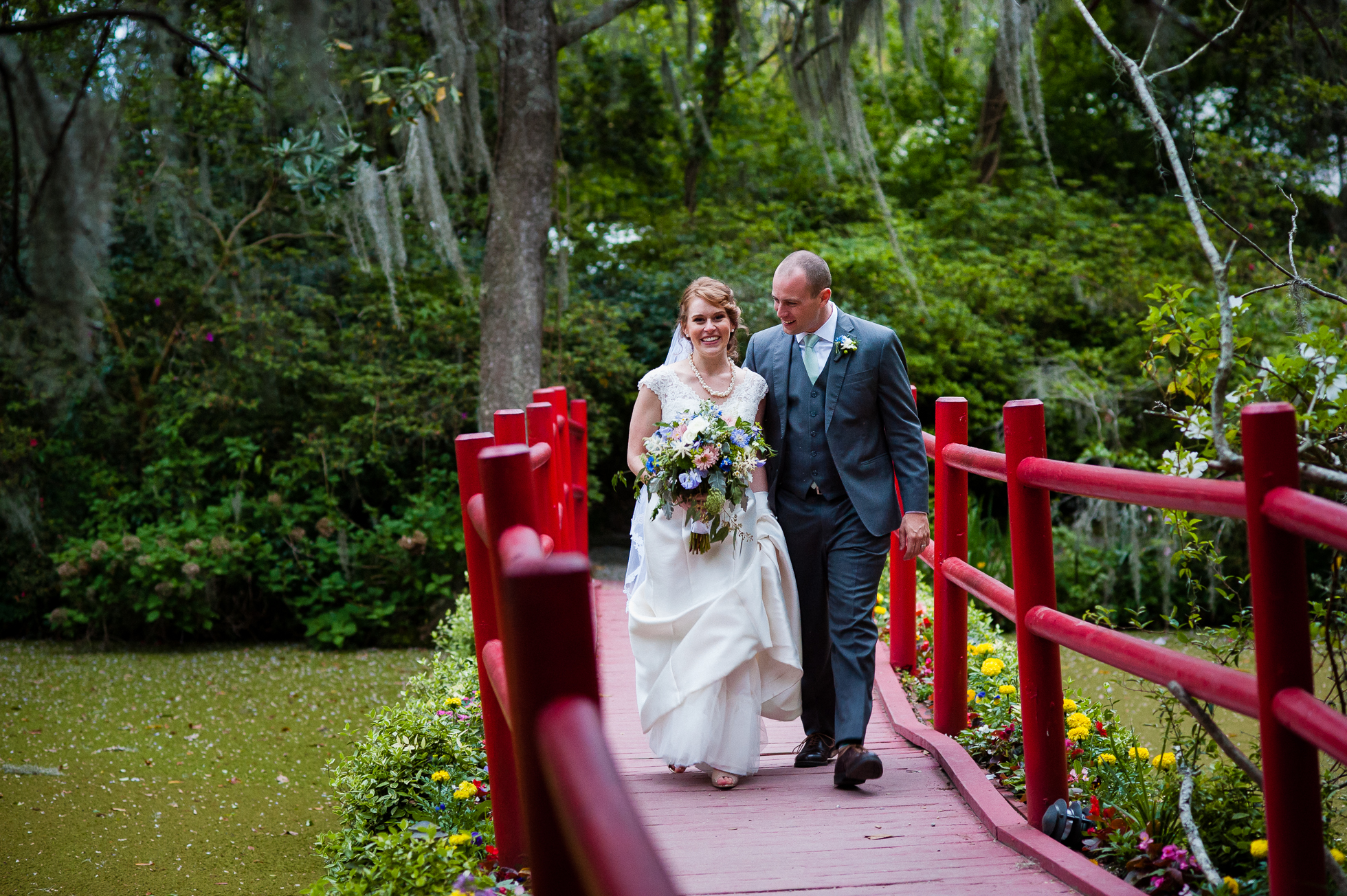 wedding day portrait at Magnolia Plantation in Charleston