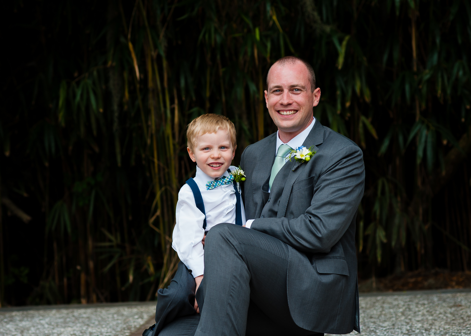 groom and ring bearer wedding day portrait at Magnolia Plantation carriage house
