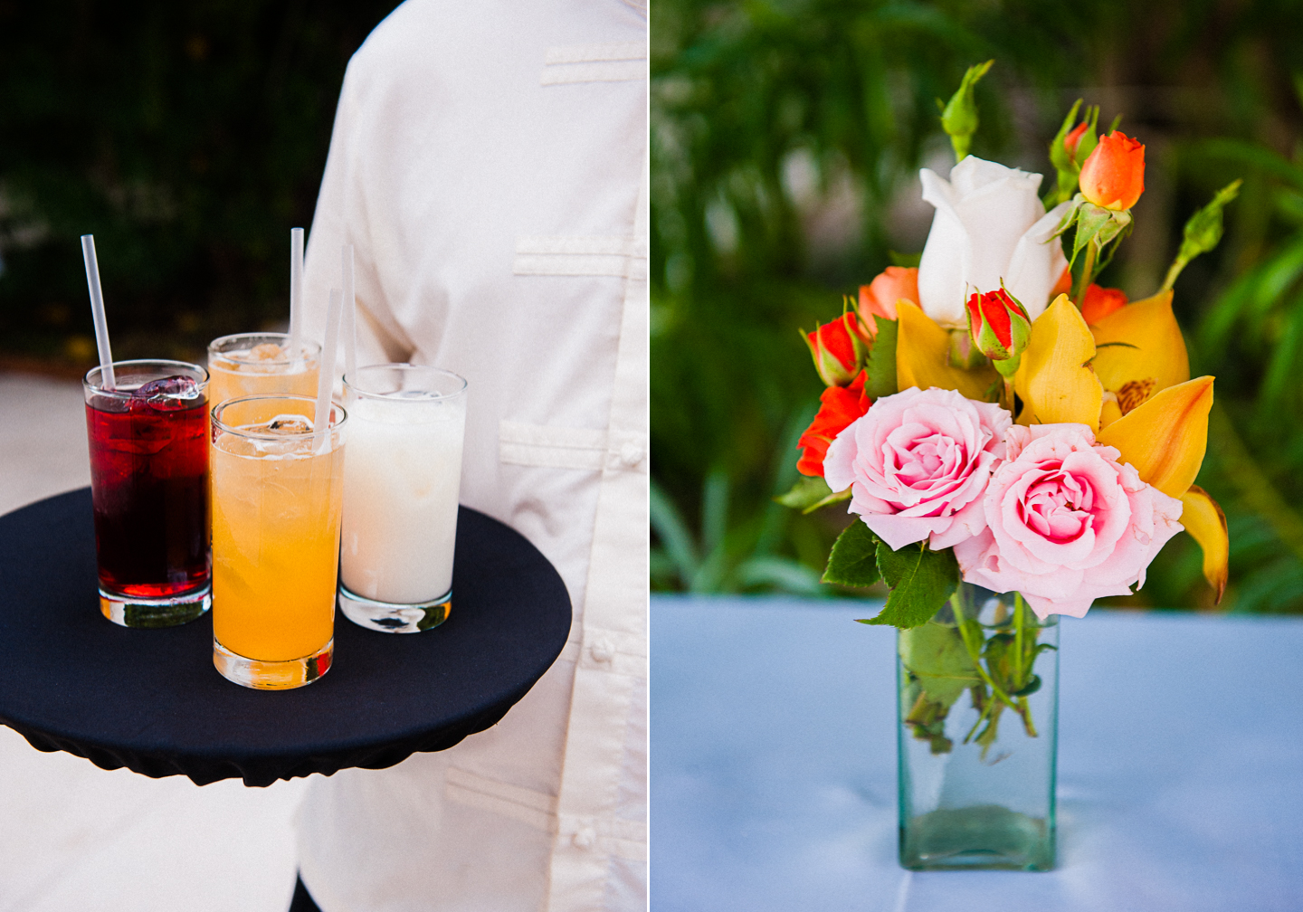 fruity drink and colorful flowers at zama beach club wedding