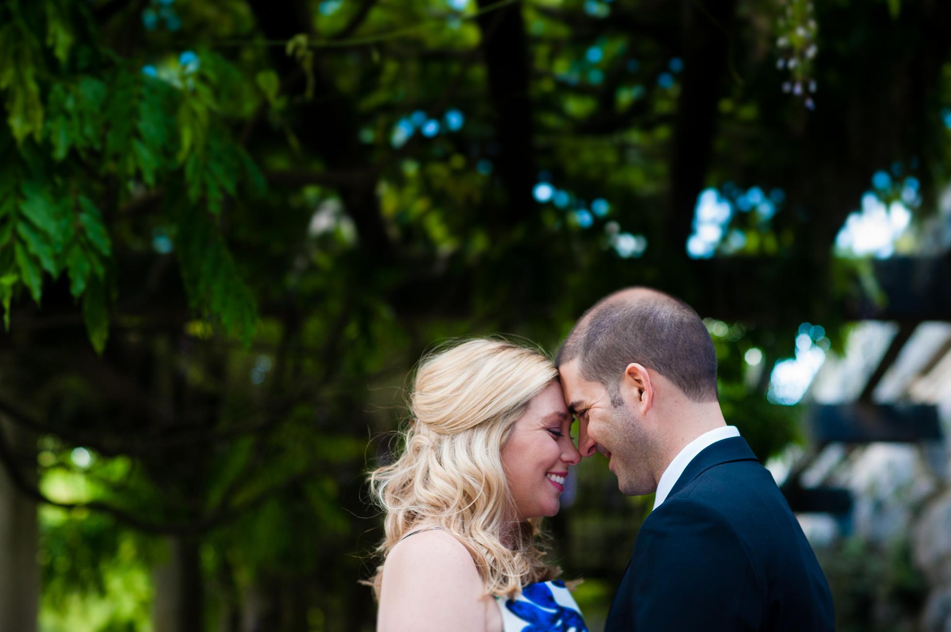beautiful engaged couple underneath biltmore estate wisteria