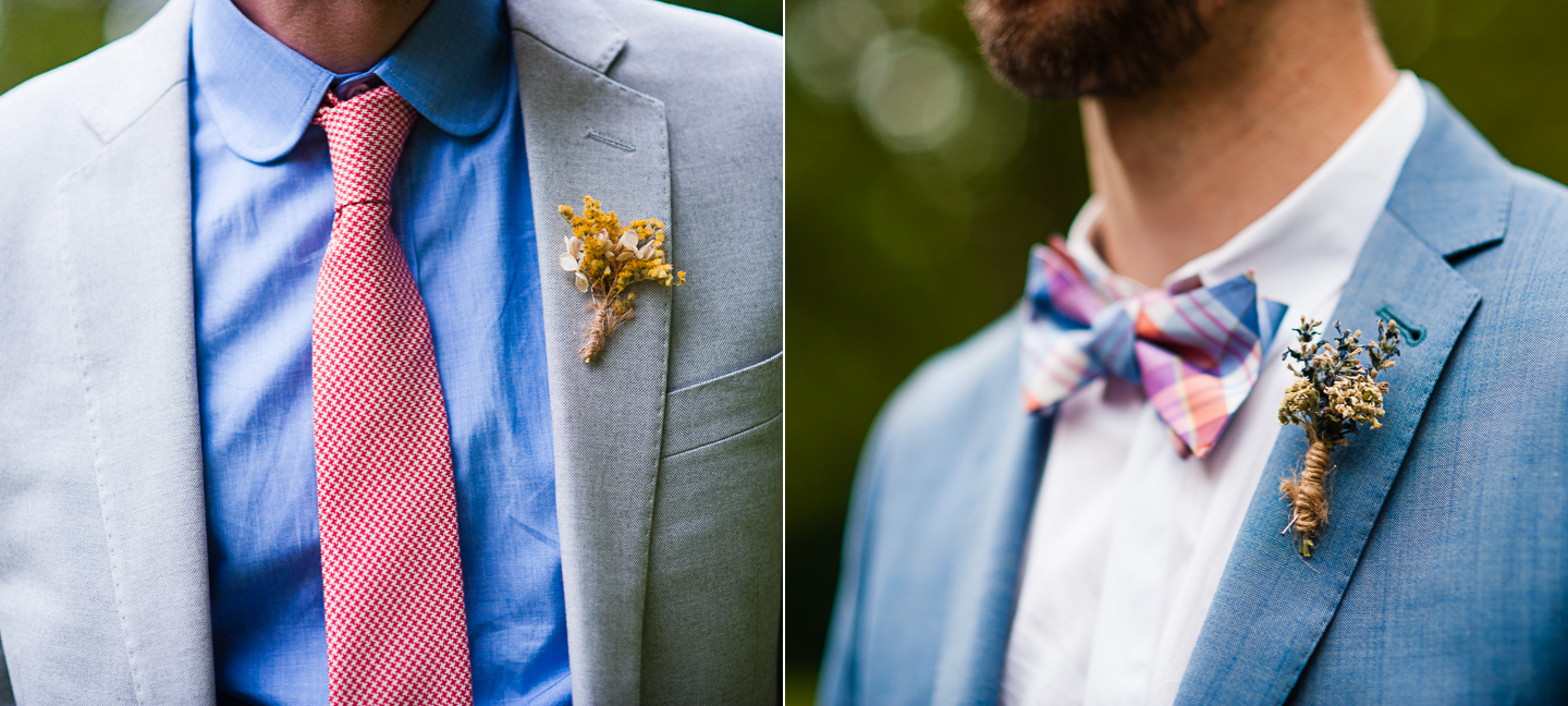 gorgeous boutonnieres for same sex asheville wedding