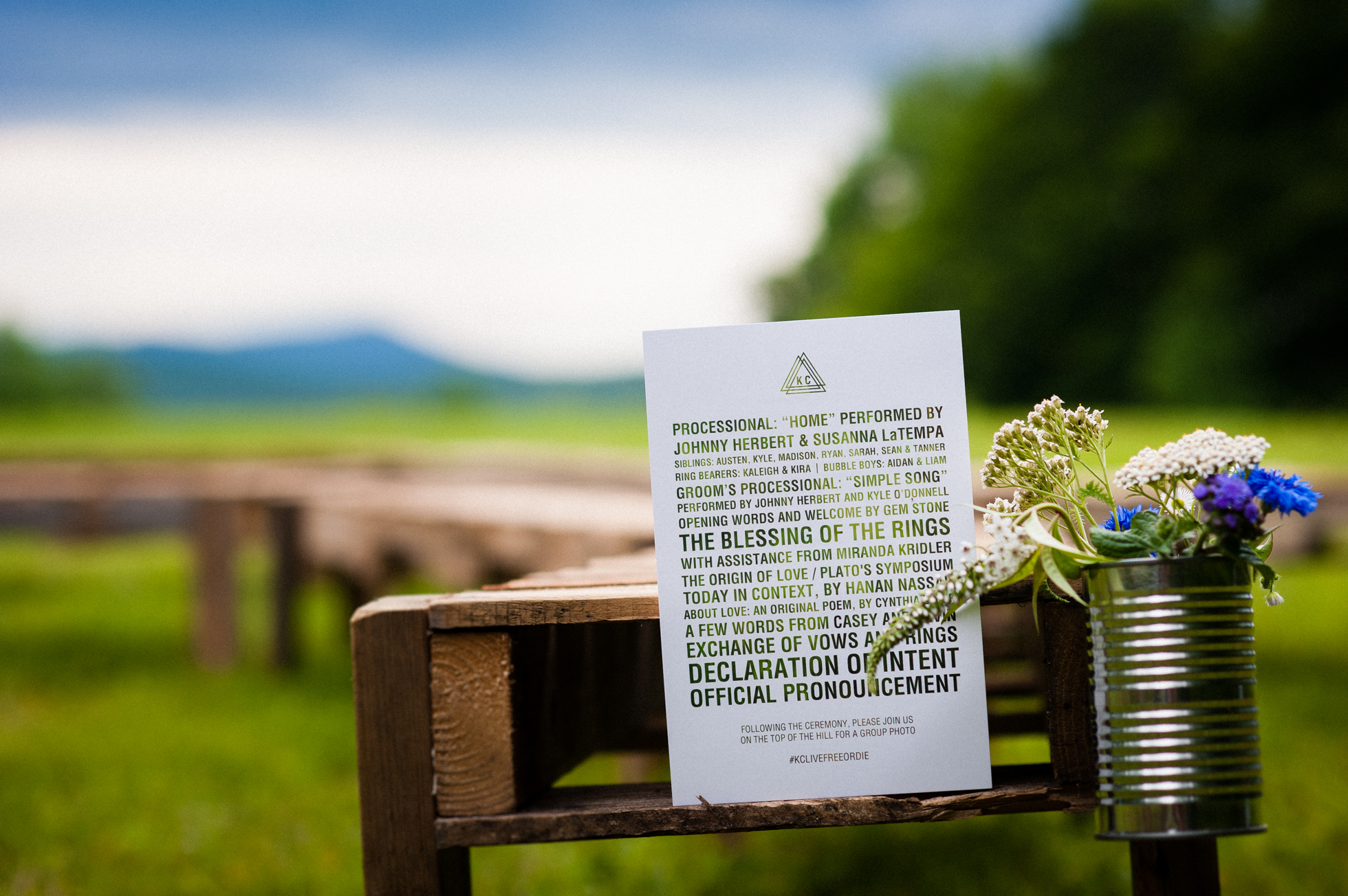 beautiful mountaintop rustic wedding program