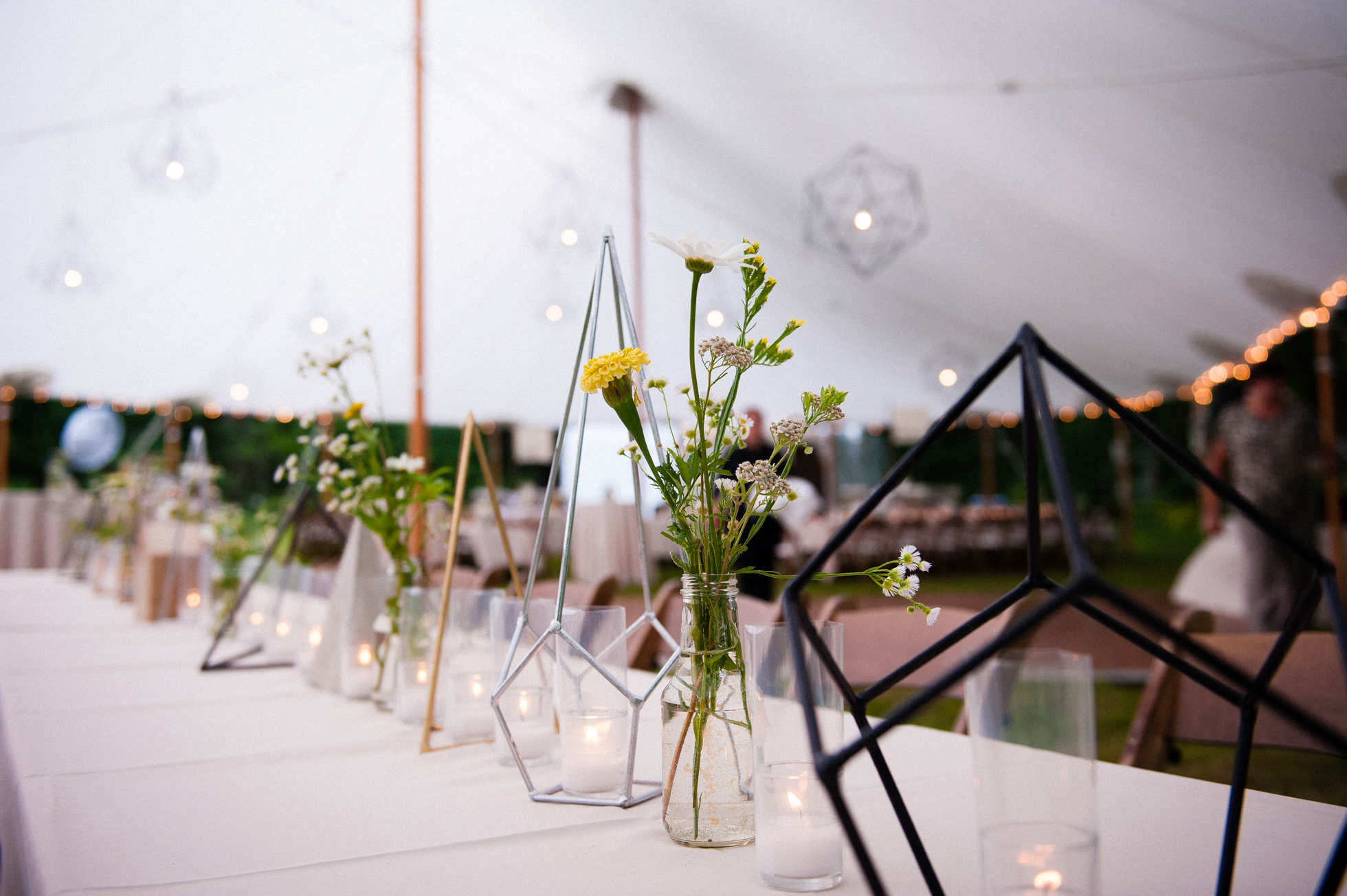 custom centerpieces during asheville tented wedding