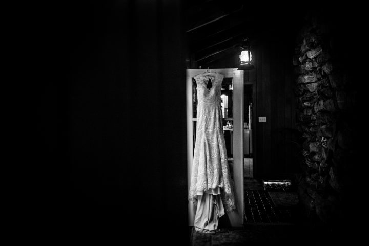 gorgeous lace wedding gown in asheville mountain cabin