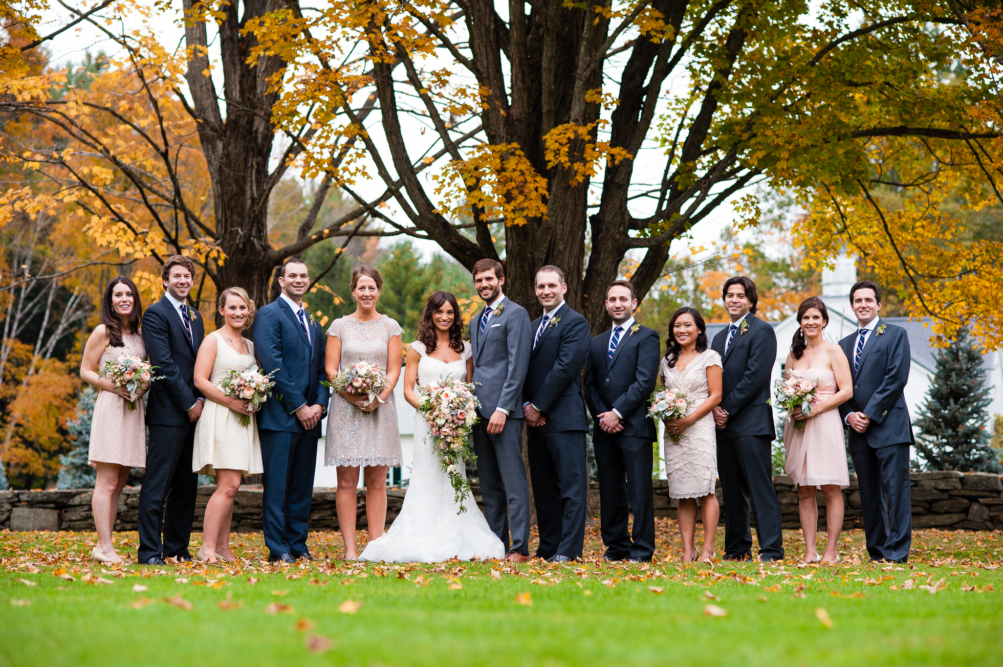 gorgeous fall wedding party at woodstock inn wedding