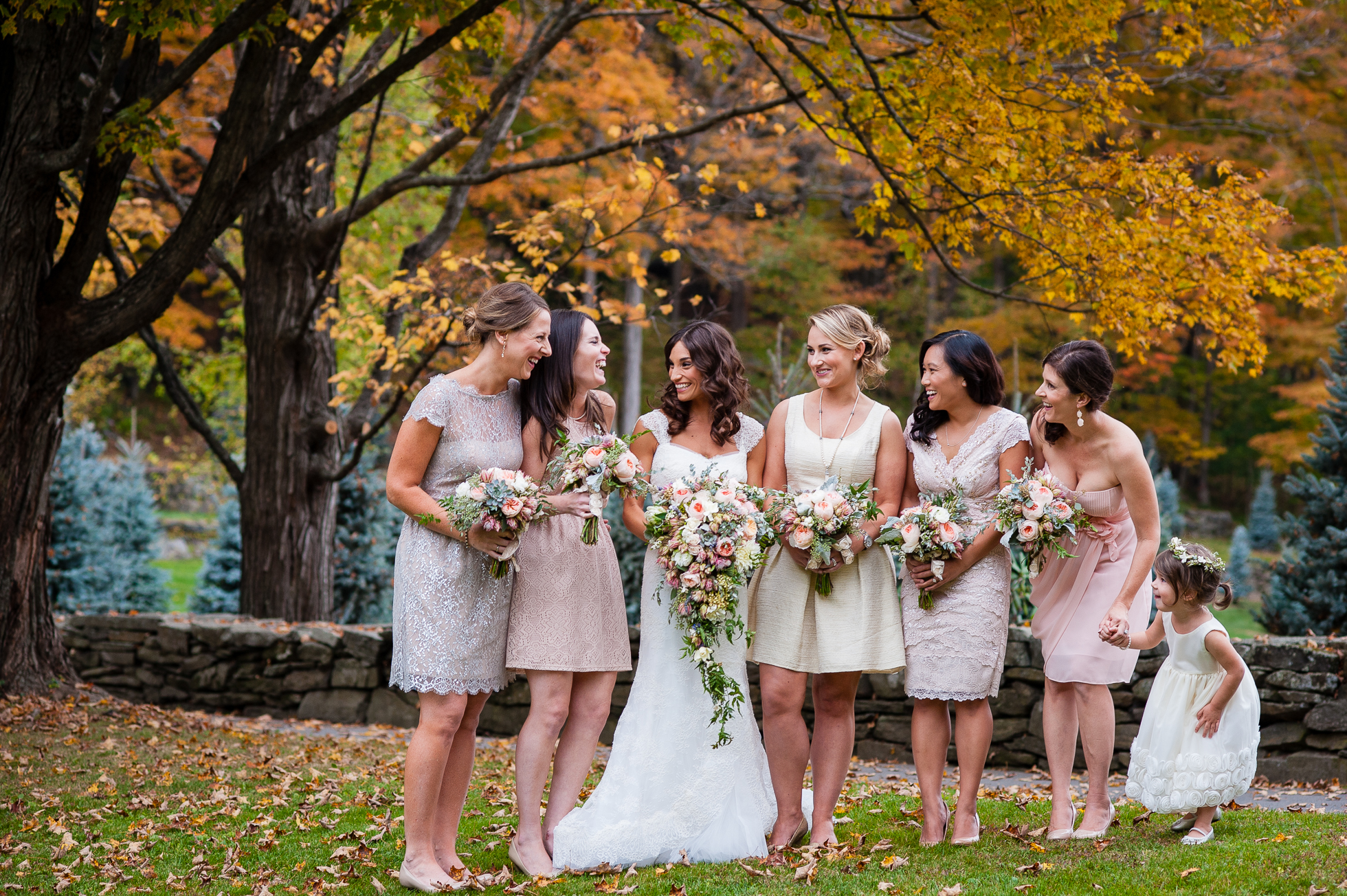 fall vermont wedding at the woodstock inn bridal party