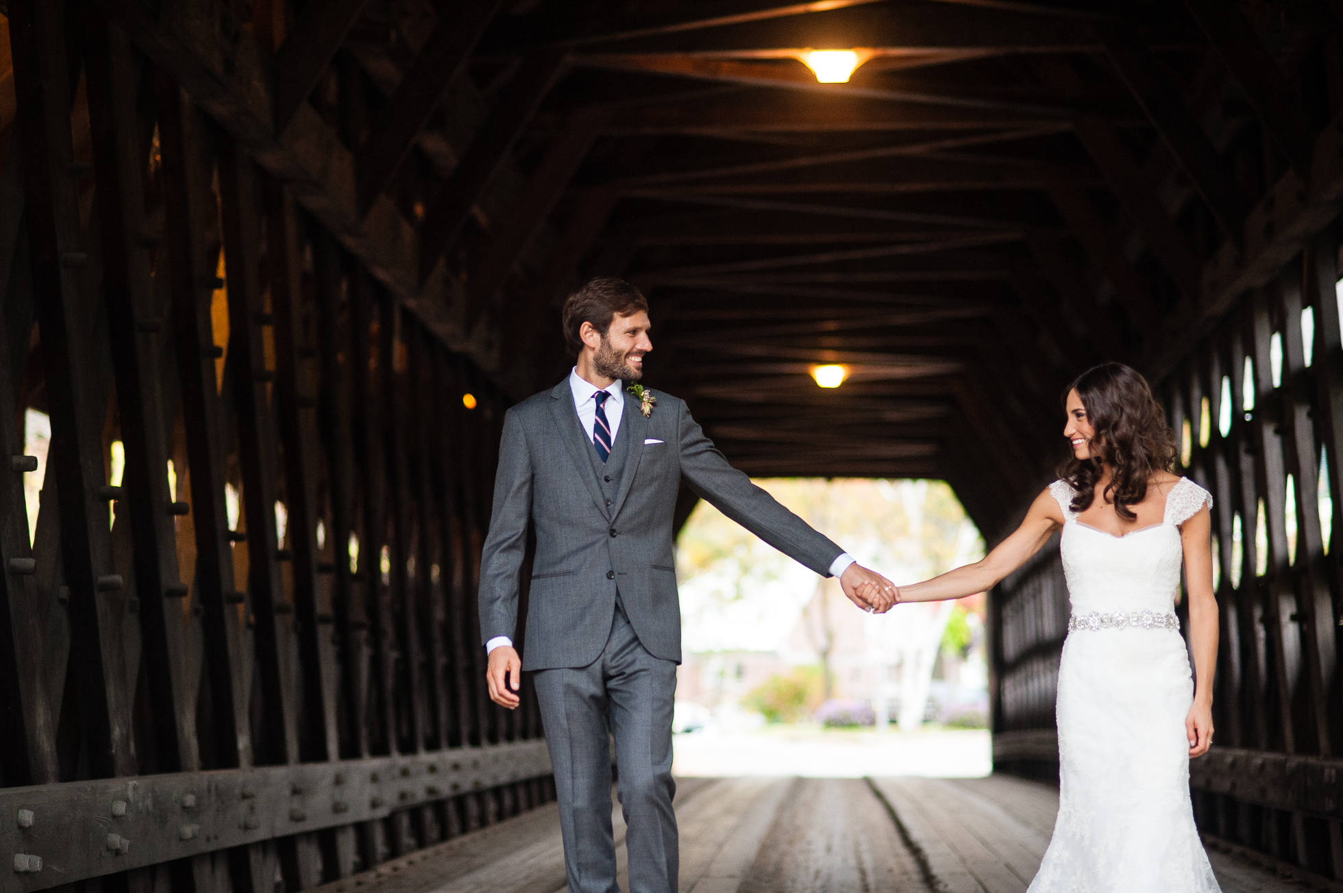 woodstock vermont covered bridge wedding portraits