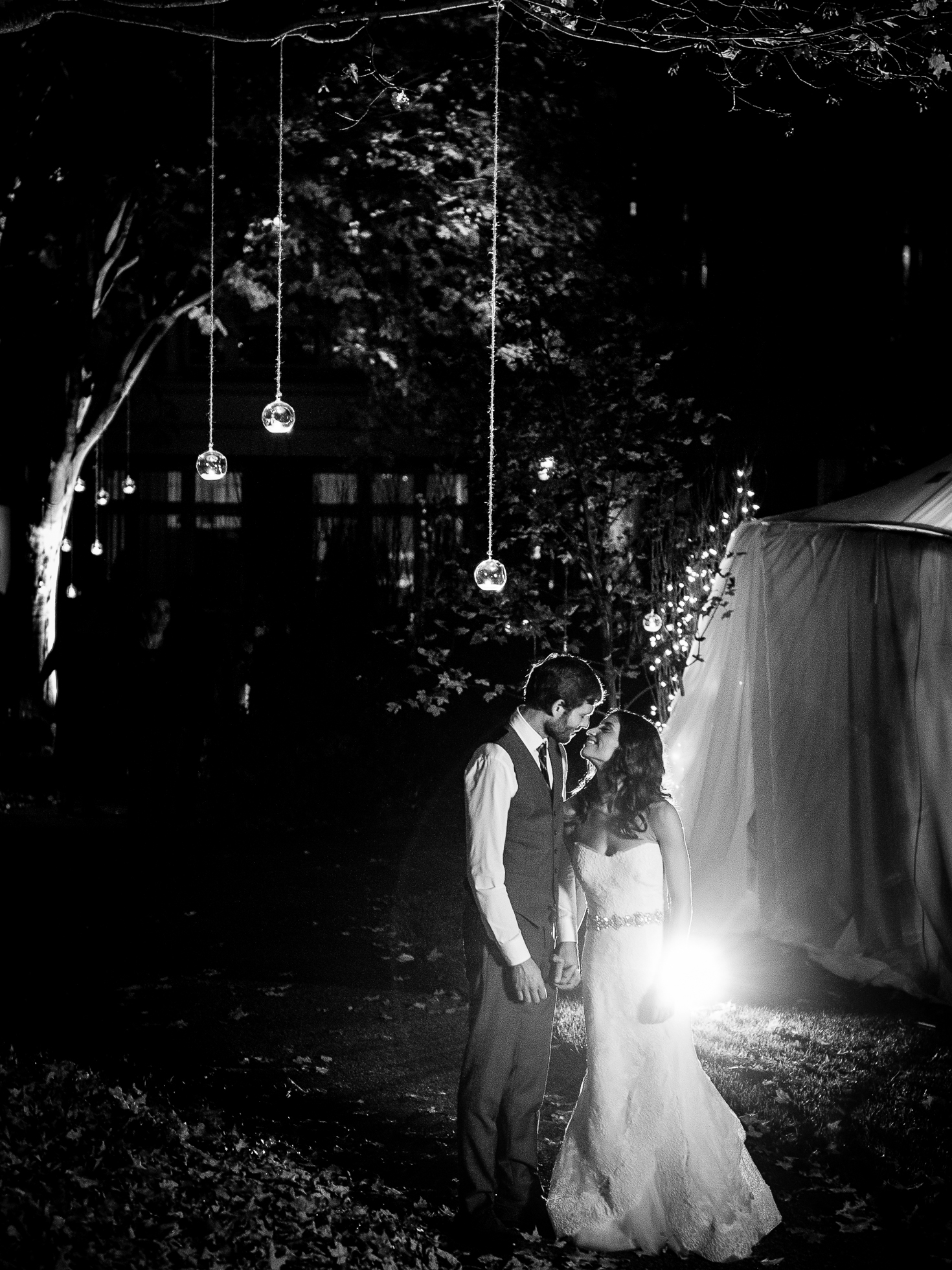 ethereal outdoor wedding portrait at night