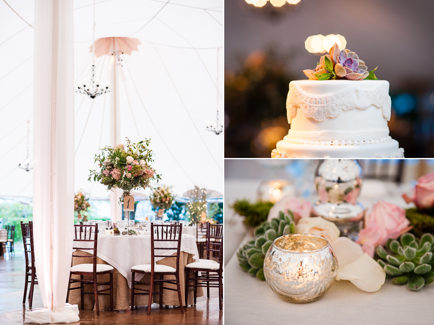 luxury tented destination wedding details