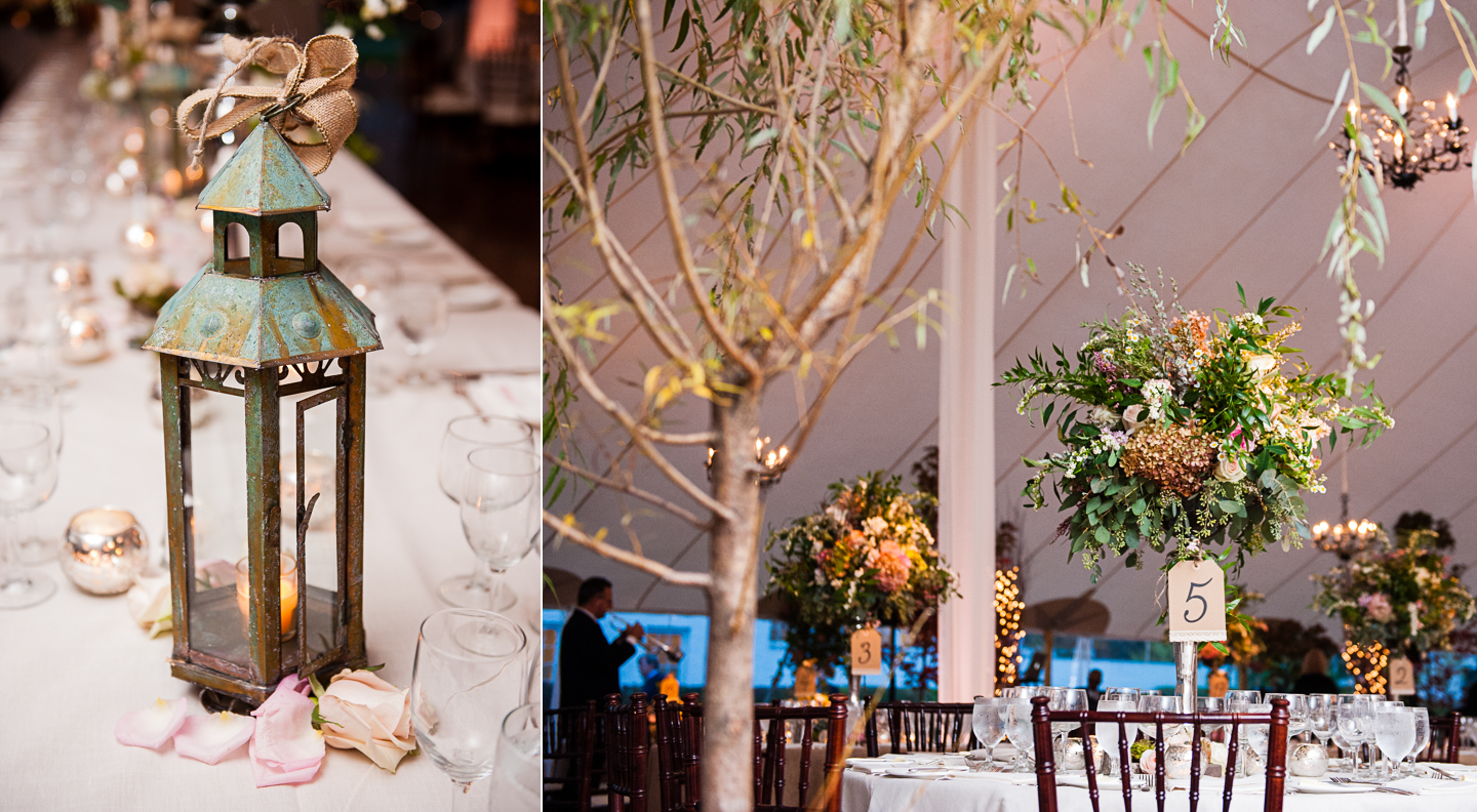 beautiful tall centerpieces adorn tented wedding table