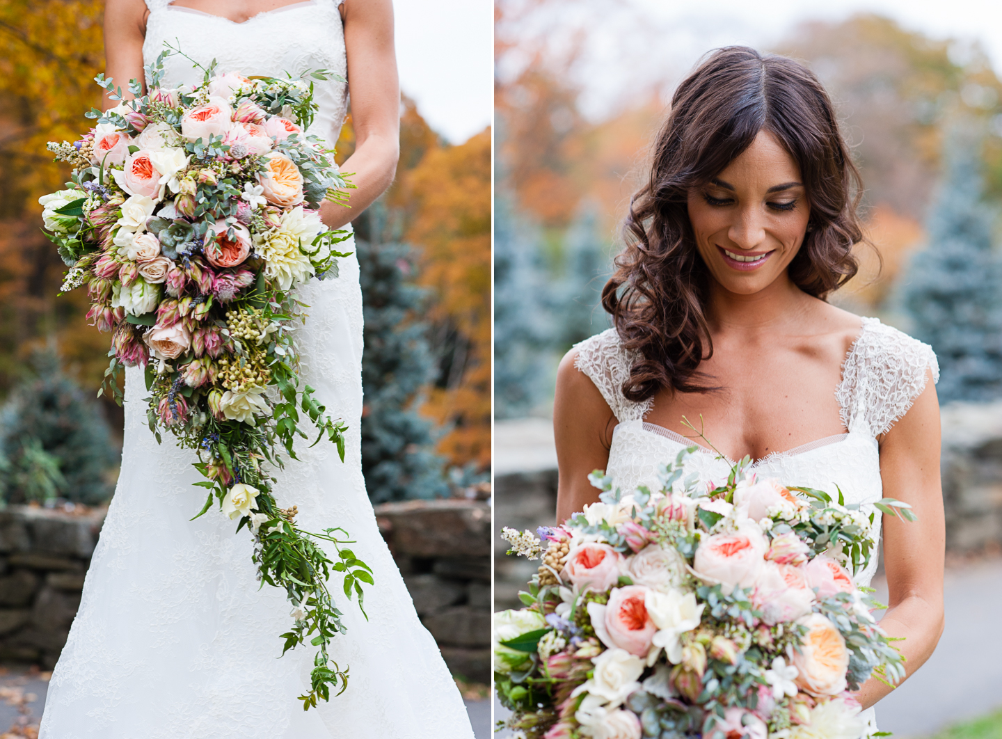 gorgeous cascading bouquet bridal portrait