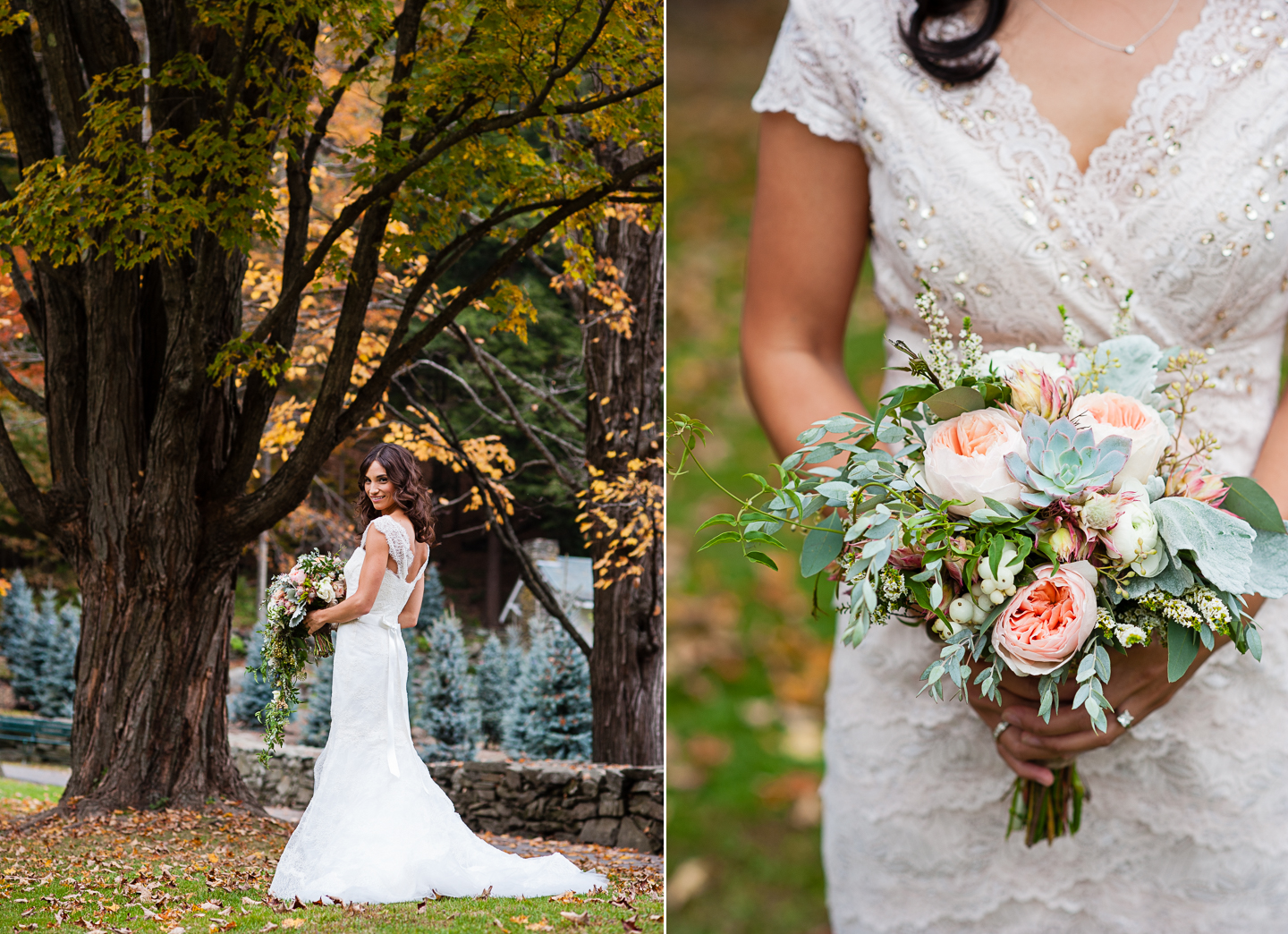 fall vermont destination wedding  flowers