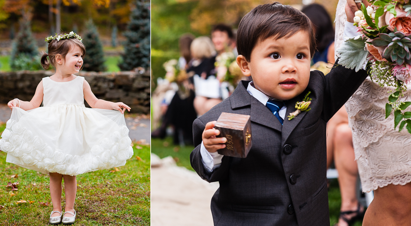 adorable flower girl and ring bearer fall destination wedding