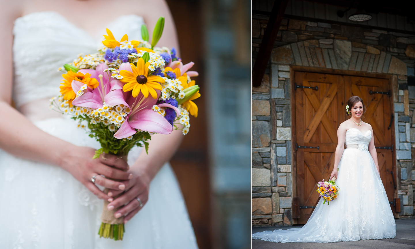 beautiful asheville bridal portraits at a farm wedding