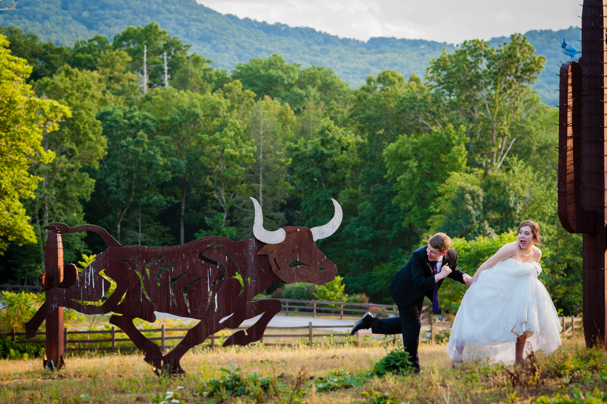 fun asheville wedding portrait