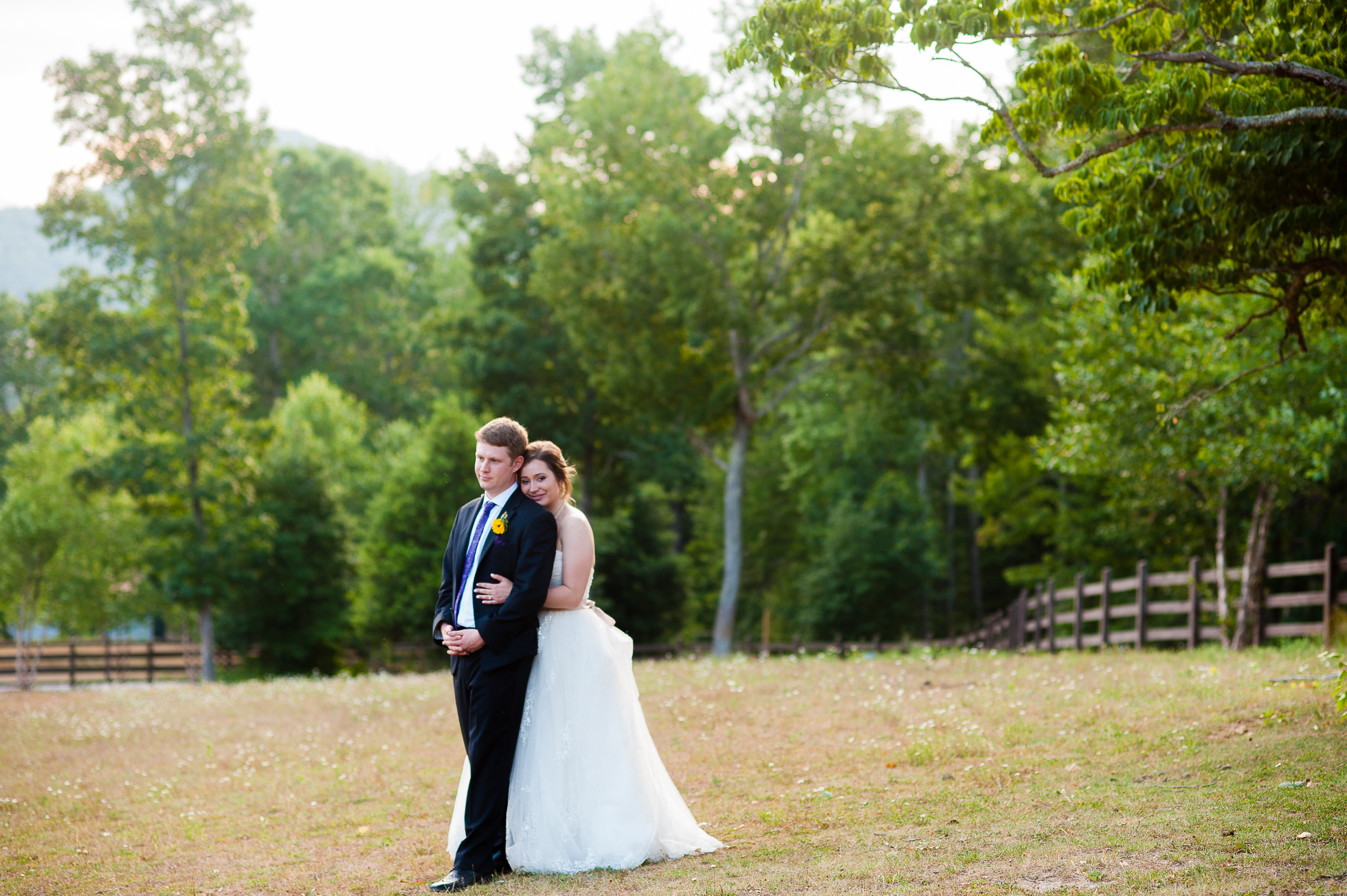 romantic asheville wedding portrait of bride and groom