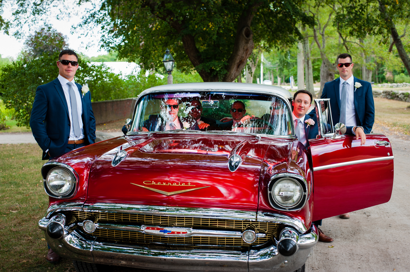 asheville grooms portraits with vintage red car