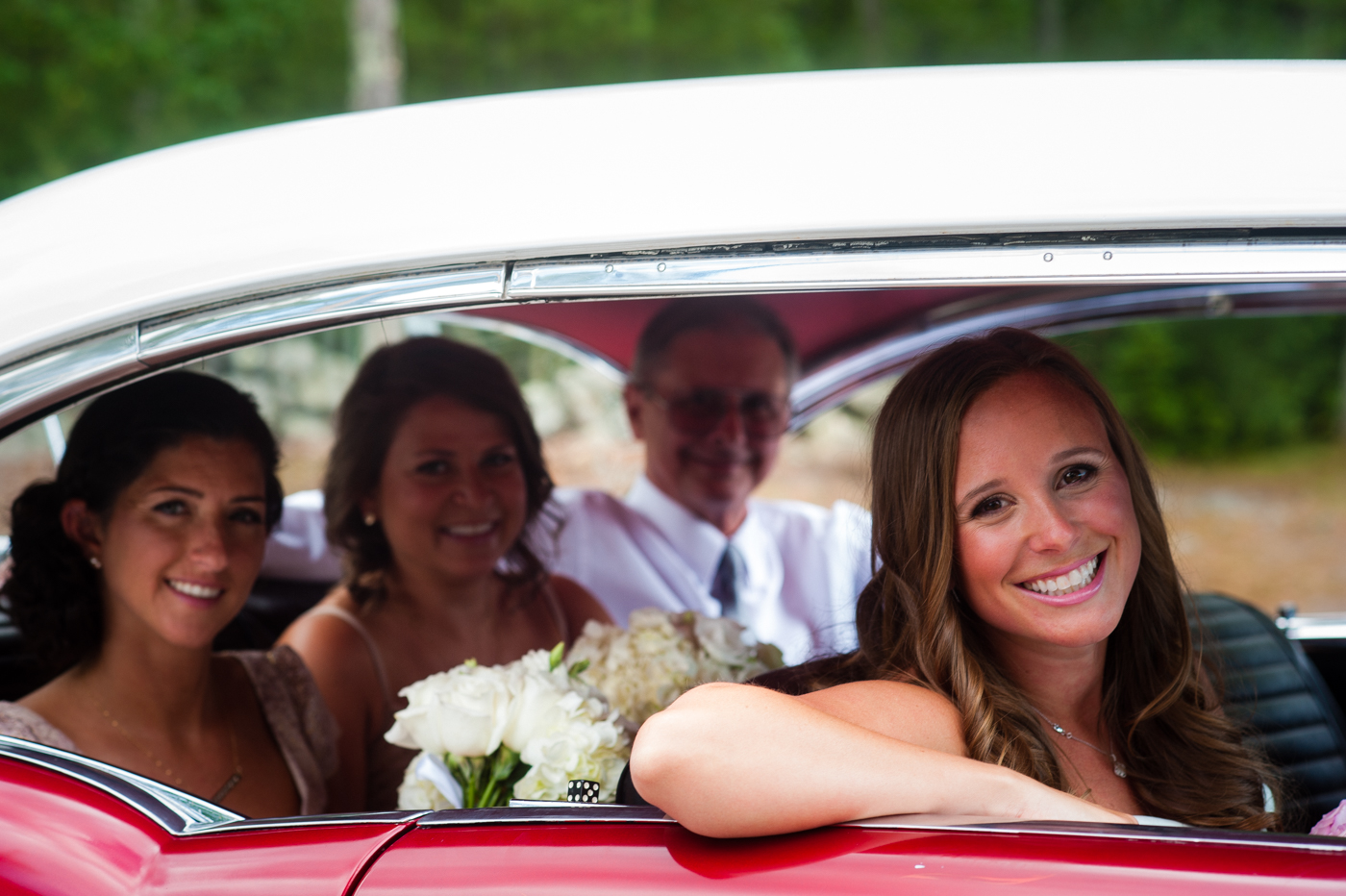 sweet ride to their asheville wedding ceremony