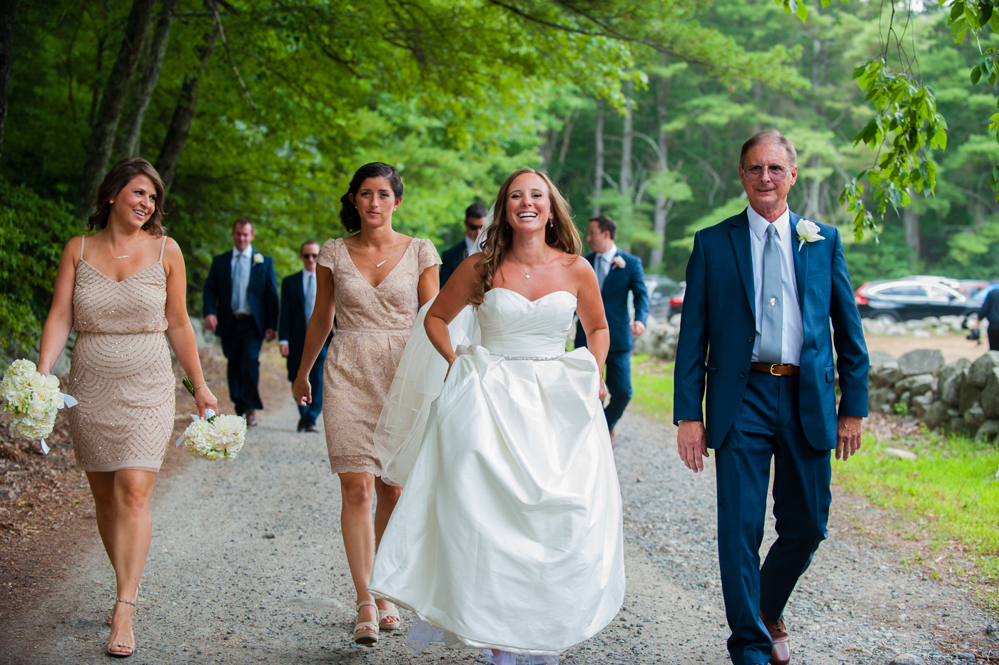 walking to a gristmill for portraits during asheville wedding
