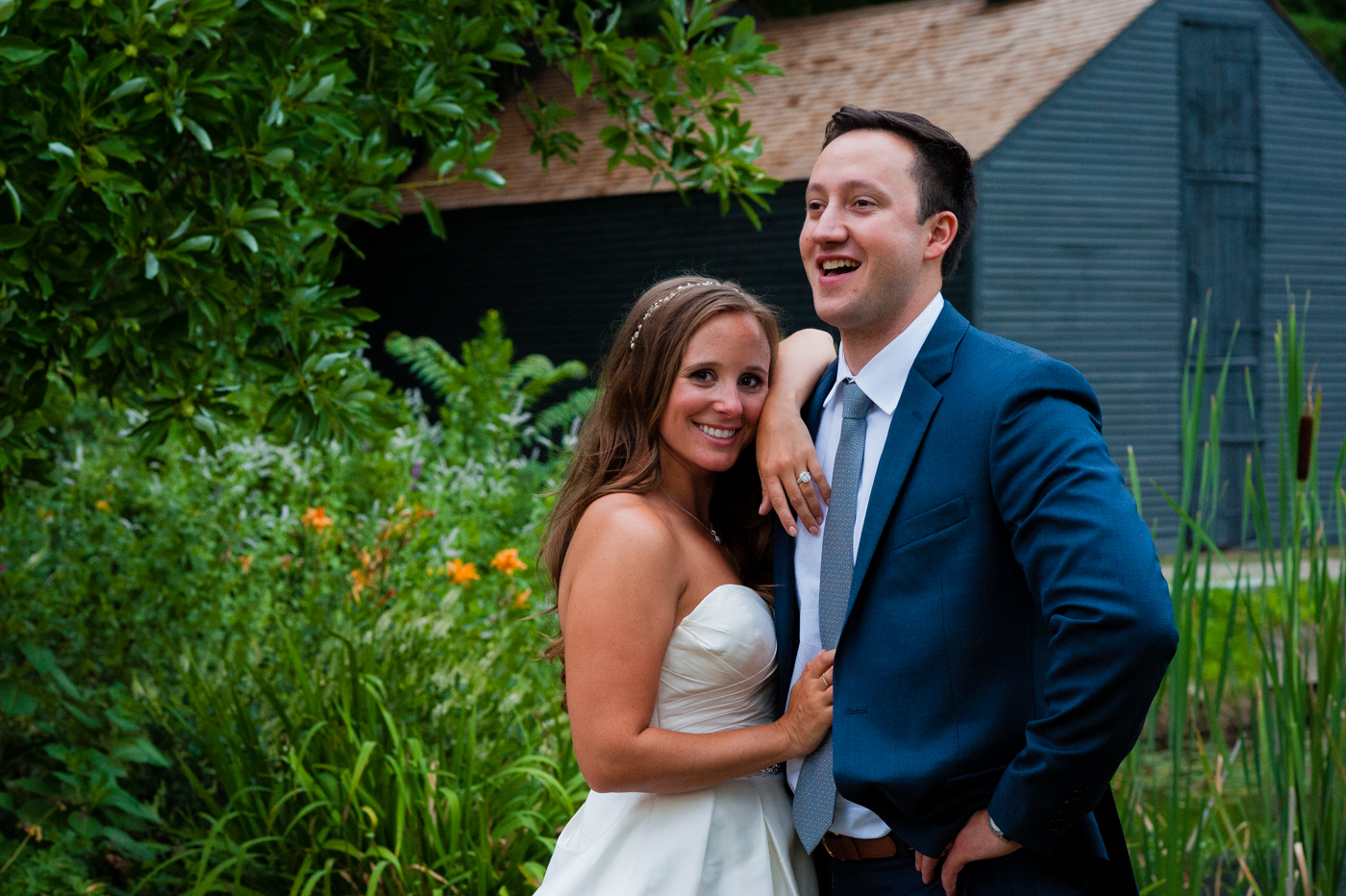 fun asheville wedding portrait with bride and groom