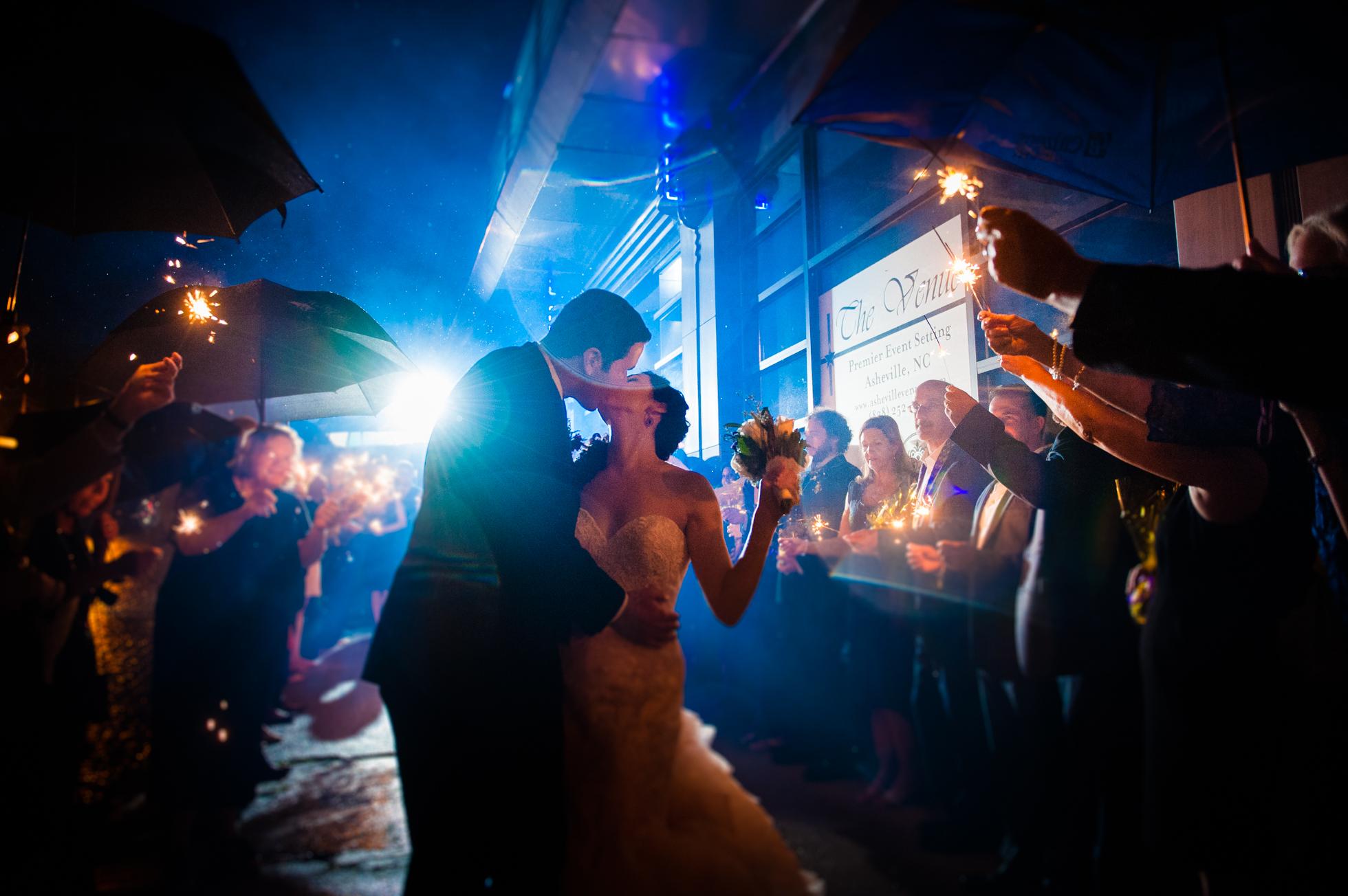 The venue asheville wedding sparkler exit