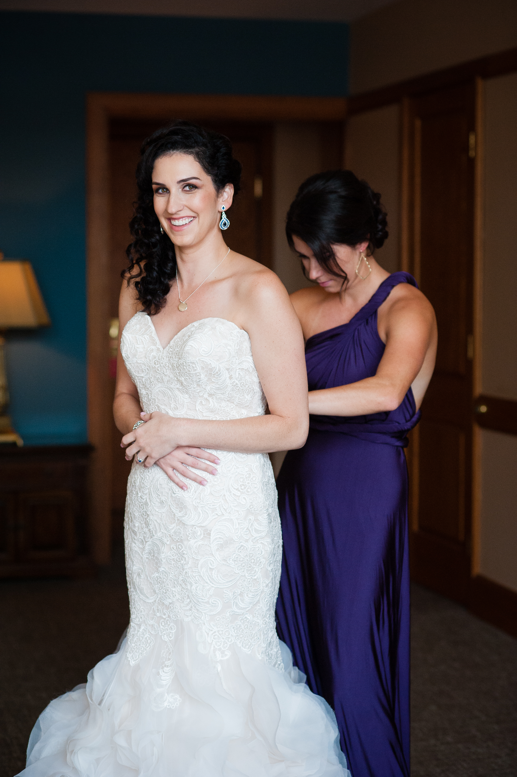 asheville bride getting dressed