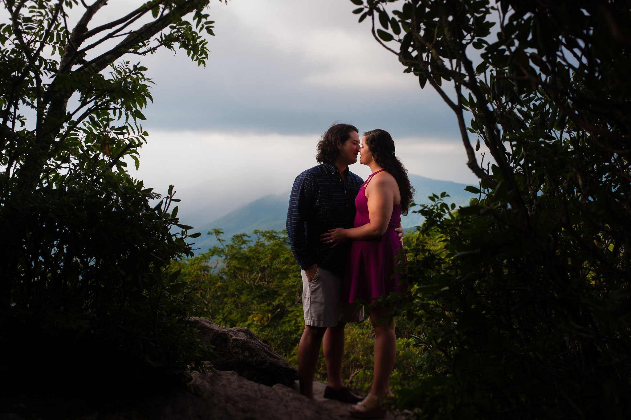 summertime engagement session at craggy gardens