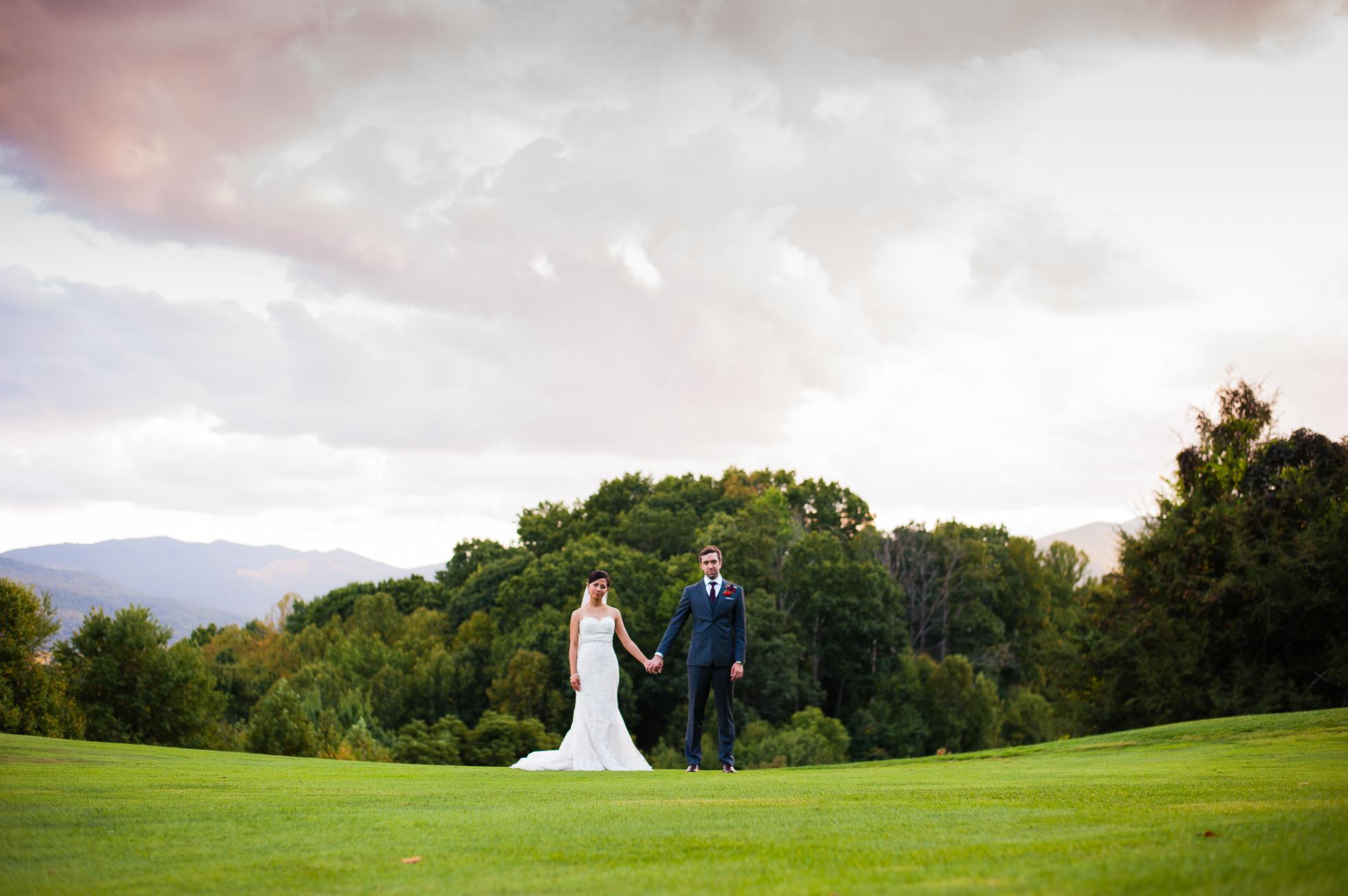 asheville wedding photographer bride and groom portraits
