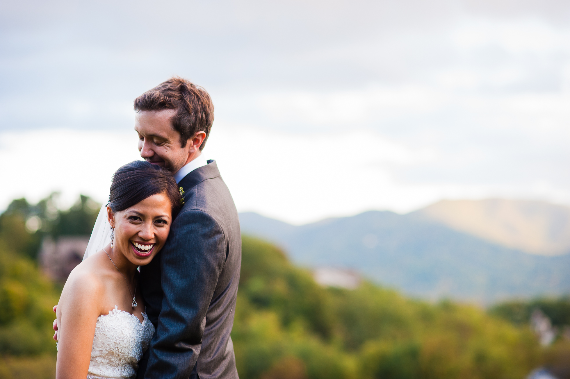 bride and groom on their wedding day at laurel ridge country club waynesville