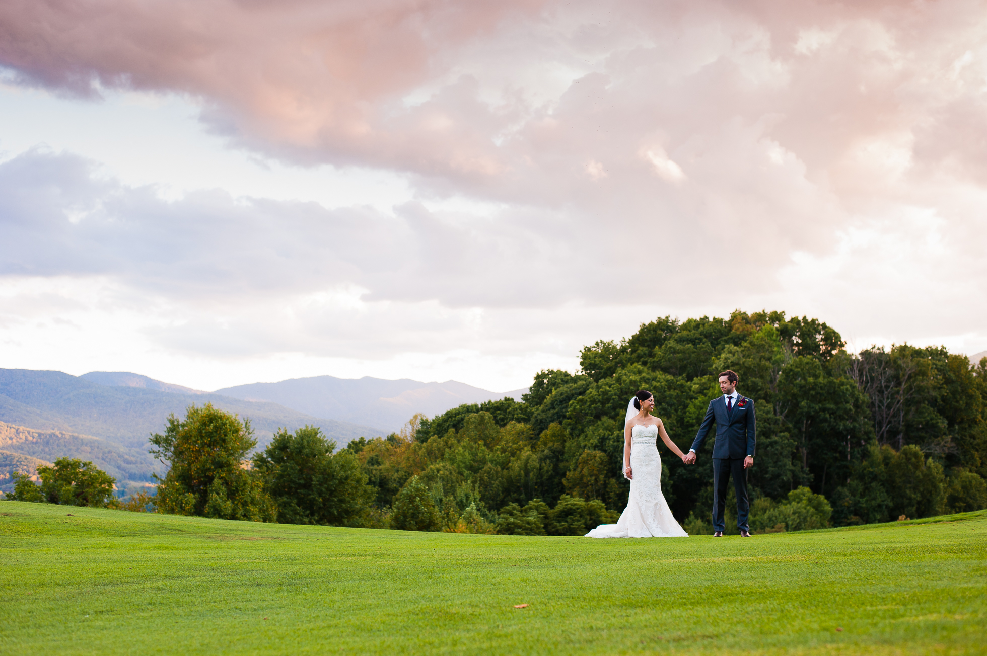 bride and groom at their asheville mountain wedding