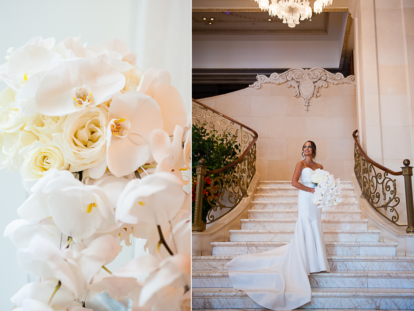 Bridal portraits in The Plaza lobby