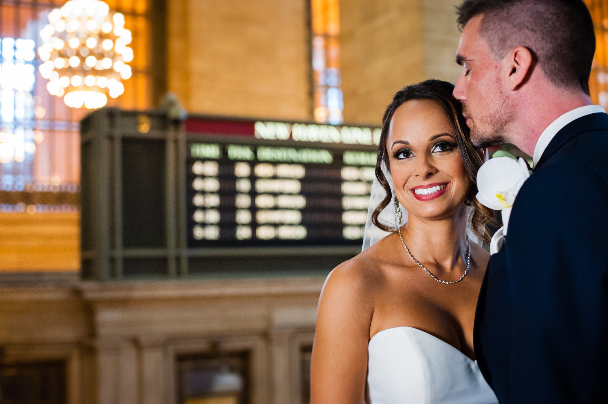 A wedding portrait in Grand Central Station during a NYC wedding