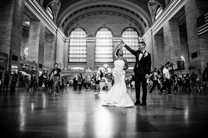 A Wedding Portrait In Grand Central Station During Nyc
