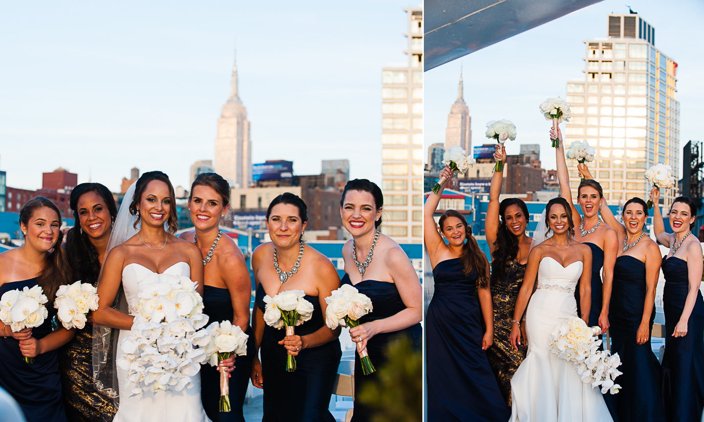 Wedding party pictures on The Atlantica Yacht in NYC