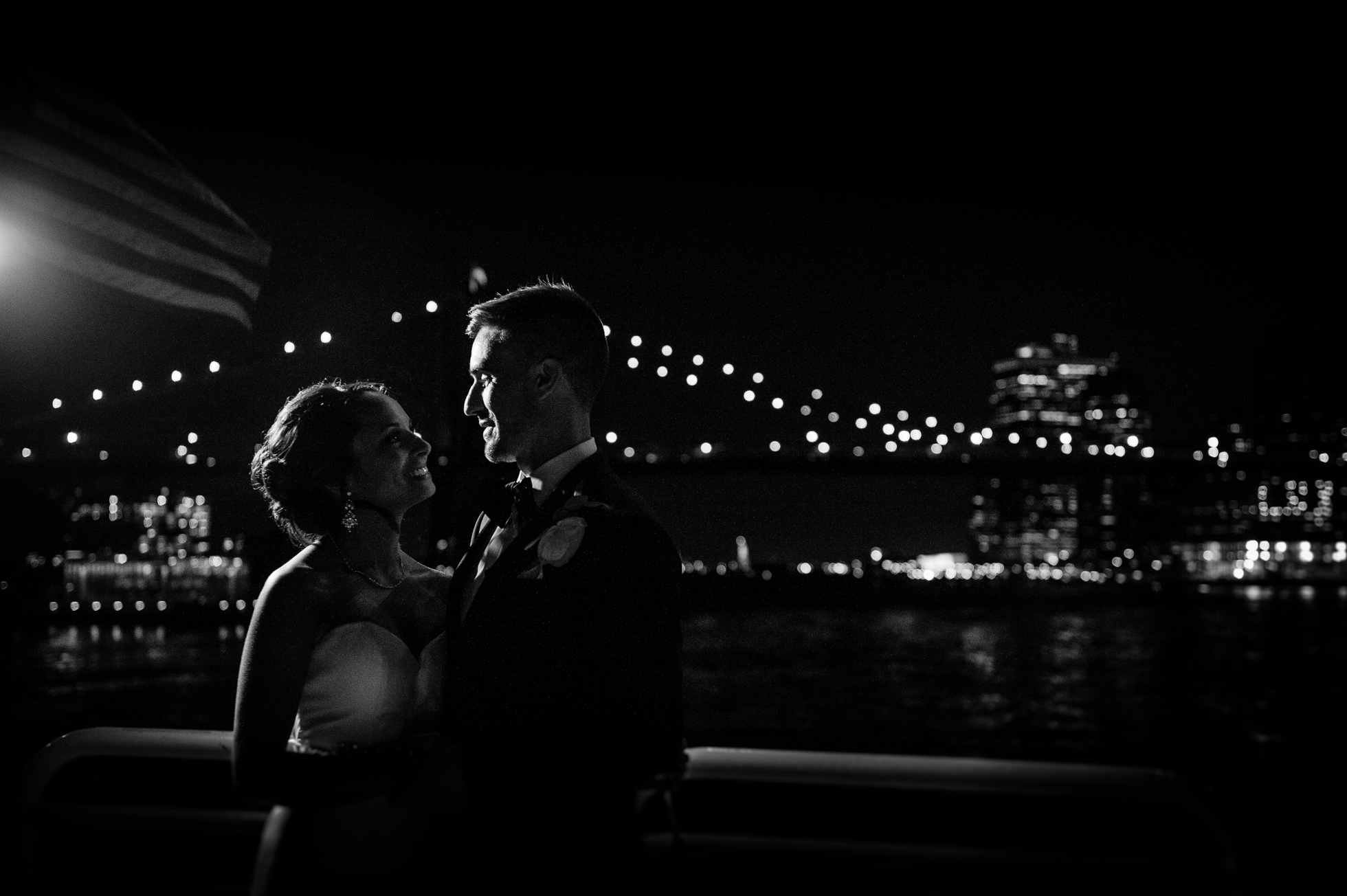 Epic Bride and Groom portraits on The Atlantica during a yacht wedding in the NY Harbor