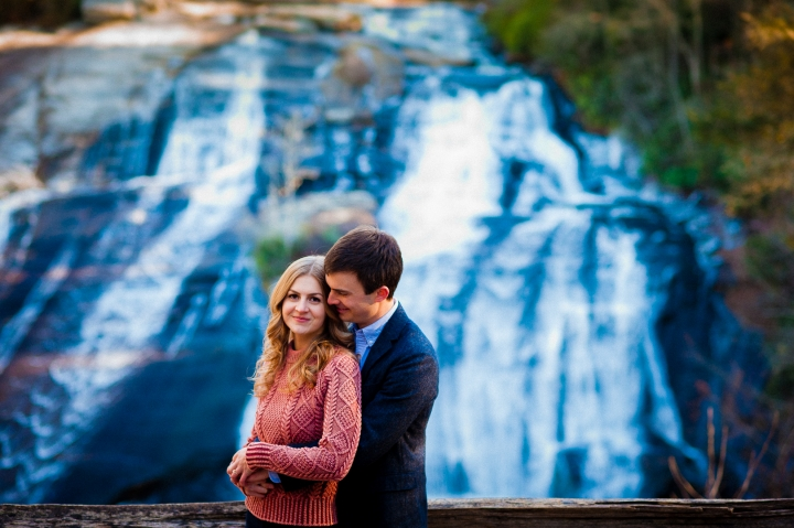 Dupont waterfall engagement photo