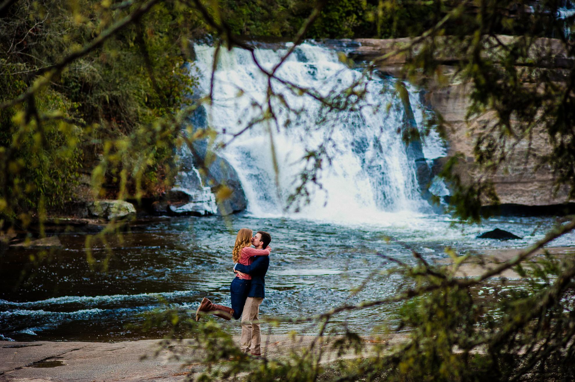 dupont waterfall engagement photo