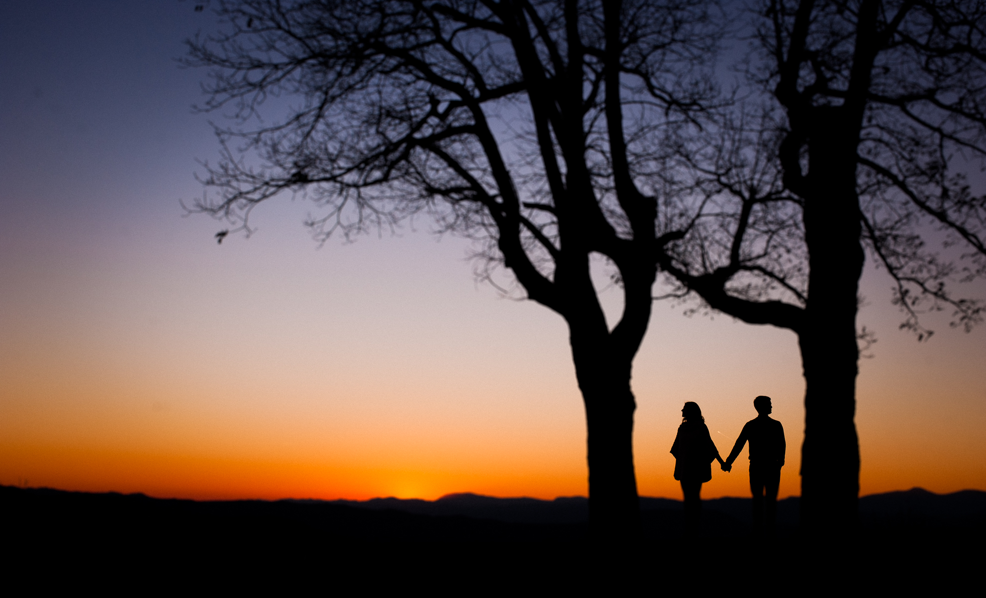 sunset engagement picture hendersonville nc