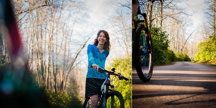 biking engagement photos
